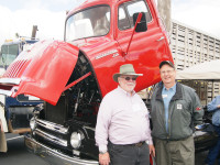 Here is George kirkham (right) with Bill Kurtt (left) withhis 1951 International L-220 Tilto Cab.
